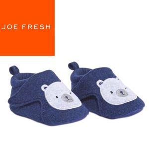 "NWT Joe Fresh Baby Boy Blue ""Bear"" Velcro Slippers"